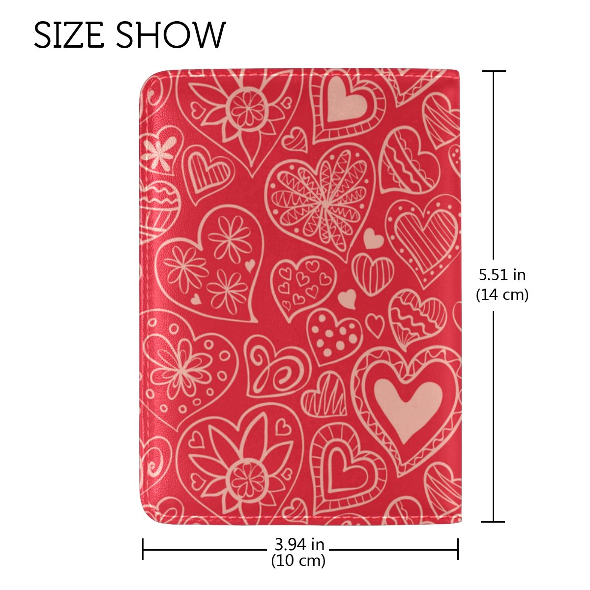 ALAZA Lovely Hearts Travel Passport Holder Cover Case Leather Passport Wallet Case