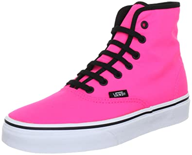 020e496a6978e Vans Unisex - Adult U Authentic HI NEON Pink Hi-Top Sneakers