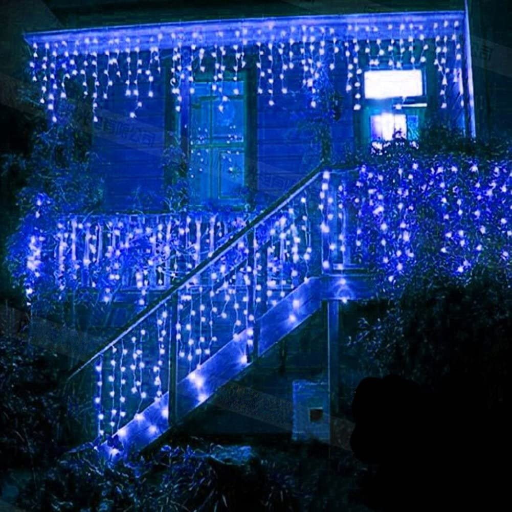 Cortina de Luces, Luz Cadena, Luz de Cortina, LED Guirnaldas luminosas, Cadena De Luces,216 LED 5M Luces LED, 8 Modos de Luz Perfecto para Decoración de Navidad, Fiestas, Casa, Jardín, Azul