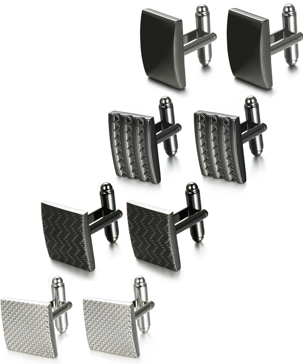FIBO STEEL 4 Pairs Wedding Business Classic Cufflinks for Men Unique Cufflink Set Mens