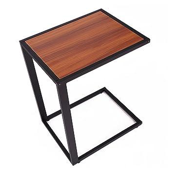 HOMCOM Sofa Snack Wooden Modern Coffee Side Table Laptop Holder C Shape  Overbed Desk Metal Base