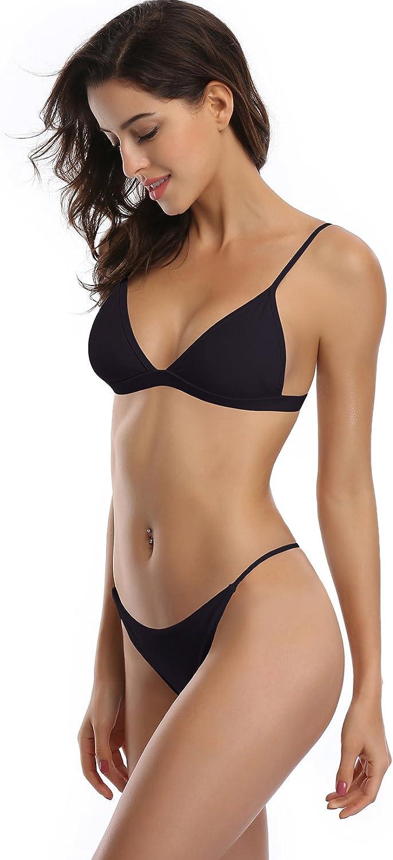 SHEKINI Mujeres Tri/ángulo Top Bikini Set Brasile/ño Inferior Traje de ba/ño