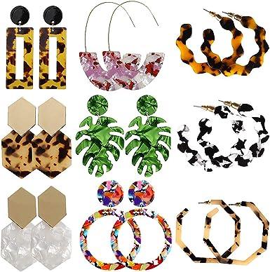 Darget Tortoise Shell Acrylic Earrings Resin Hoop Drop Alloy Earrings Statement Stud for Girls and Women