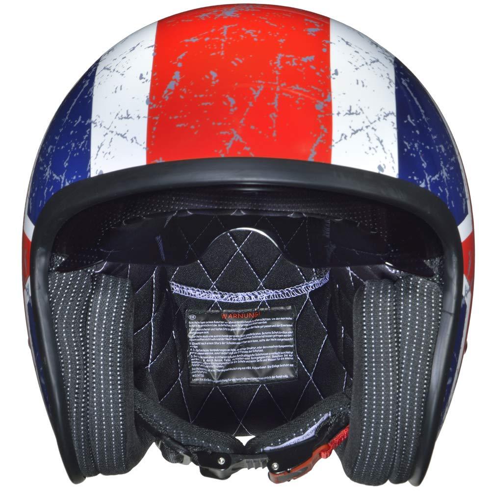 55-56 Gr/ö/ße:S RC-590 Jethelm Custom Motorradhelm Chopper Chopper Motorrad Roller Helm rueger Farbe:Matt Schwarz