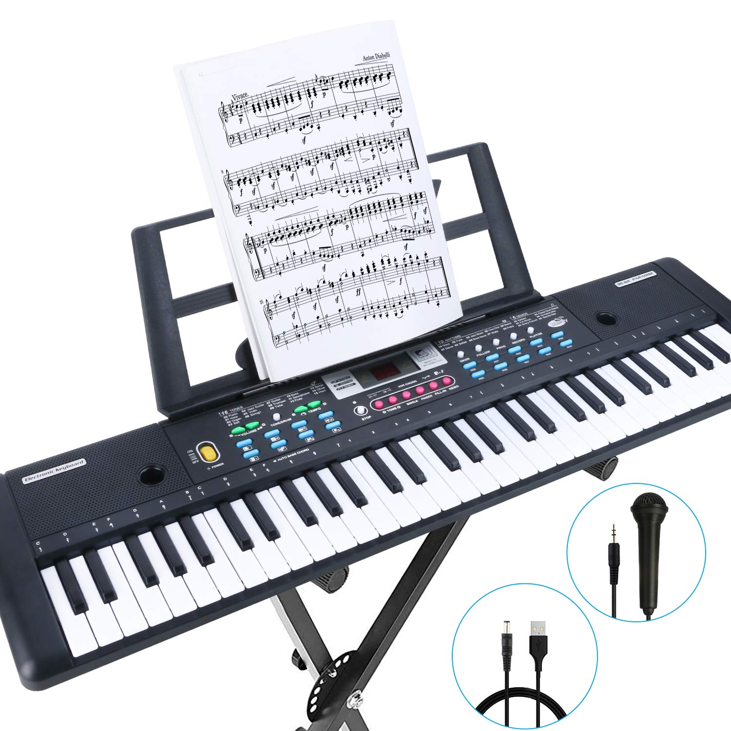RenFox 61-Key Keyboard Piano with Microphone & Music Stand Portable Electronic Kids Piano Keyboard for Beginners 22.9x7.9x2.3 Inch by RenFox