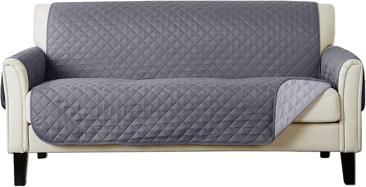 Reversible Sofa Protector. Furniture Protector for Living Room with Secure Straps. Furniture Protectors for Kids, Dogs and Pets. Skylar Collection (Sofa, Light Grey/Dark Grey)