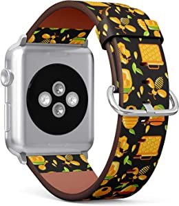 Compatible with Apple Watch (Small 38mm/40mm) Series 1,2,3,4 - Leather Band Bracelet Strap Wristband Replacement - Decorative Honey Bumble Bee Honeycomb