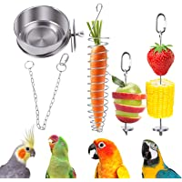 QBLEEV Bird Food Holder, Bird Feeders, Stainless Steel Parrot Fruit Vegetable Stick Holder, Foraging Toy, Bird Treat…