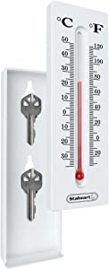 Hide a Key for House, Car, and Safe Keys- Temperature Reading Indoor and Outdoor Working Wall Mount Thermometer with Key Storage by Stalwart