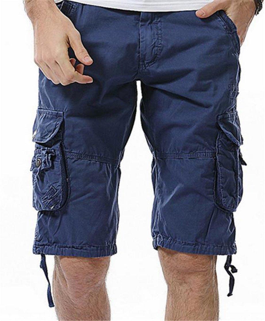 Pandapang Mens Multi Pocket Ripstop Print Bandage Cargo Shorts Outwear Jewelry Blue US-XL