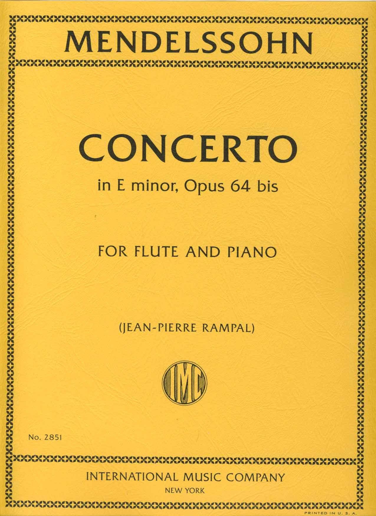 MENDELSSOHN - Concierto Op.64bis en Mi menor para Flauta y Piano (Rampal) ebook