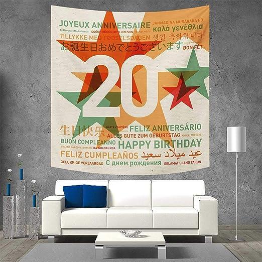 Anniutwo - Tapiz de Pared para 20º cumpleaños, diseño de 20 ...