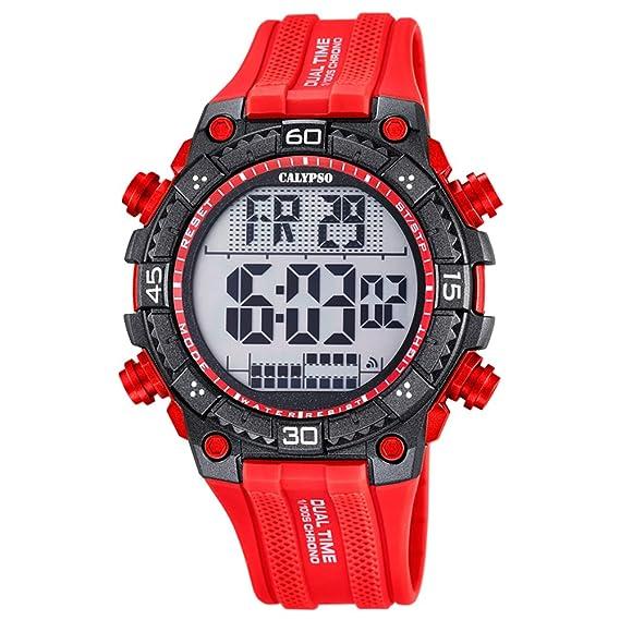 Calypso de hombre reloj de pulsera Sport Digital PU reloj de pulsera Rojo de Cuarzo Esfera Rojo Negro uk5701/2: Calypso: Amazon.es: Relojes