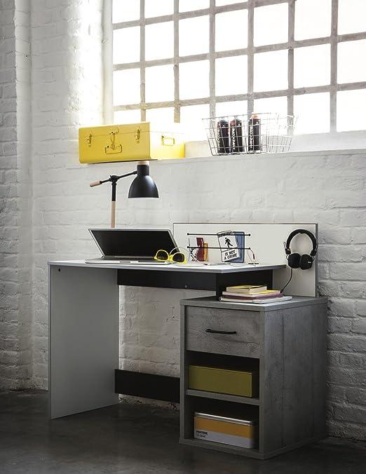 Mesa de Estudio Escritorio 120cm. Blanco, Negro y Gris. para ...