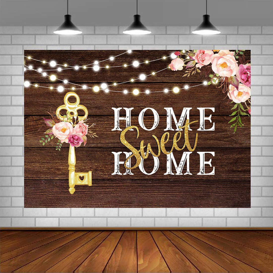 Housewarming Backdrops Pink Floral Sweet Home Key Shining Lights Background for New House Party Decorations Wooden Floor Wedding Photo Booth Props Cake Table Supplies 5x3ft