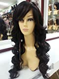 28inch Sierra long loose wave wig body wave curly hair side sweep bang (1B/30) Black color mix with gold high lights