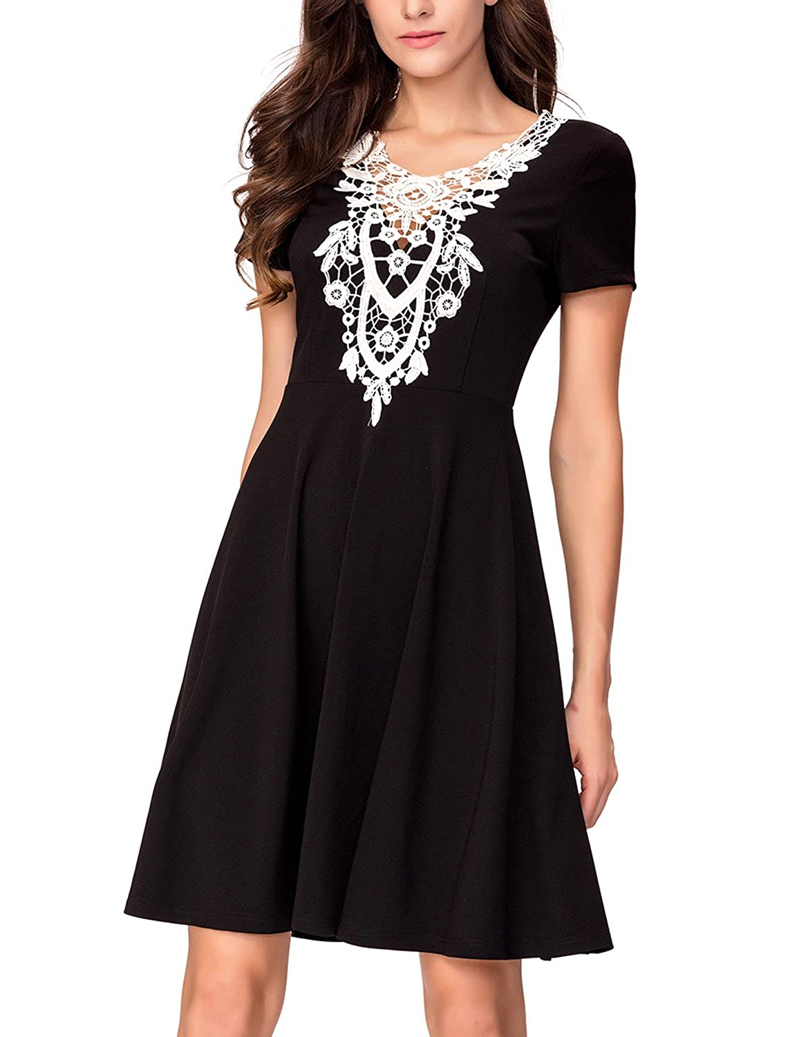 Casual A line Dresses, Noctflos Women Short Sleeve Embroidery V Neck Flare Dress