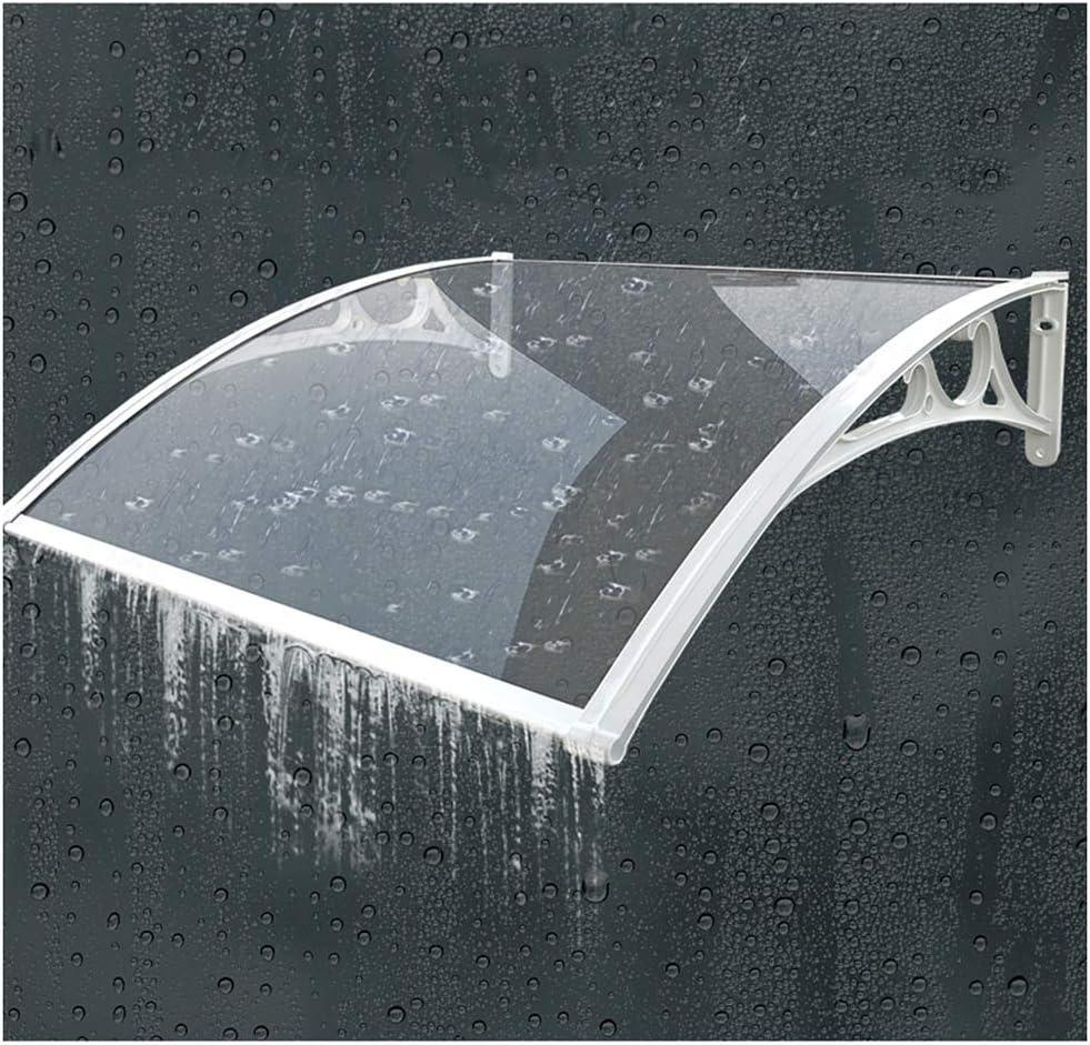 Transparente con Blanco Soportes De Aluminio Size : 60cmx80cm Marquesina Puerta Exterior QIANDA Ventana Toldo Porche Techo Lluvia Lavado De Lluvia Autolimpiante Proporcionar Abrigo