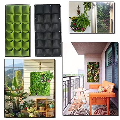NITCAN 18 Pockets Vertical Wall Garden Planter Pocket,Wall Mount Living Plant Growing Bag for Flower Outdoor Decor for Patios and Gardens,Widely Used in Home Decor Shopping mall Office Hotel: Garden & Outdoor