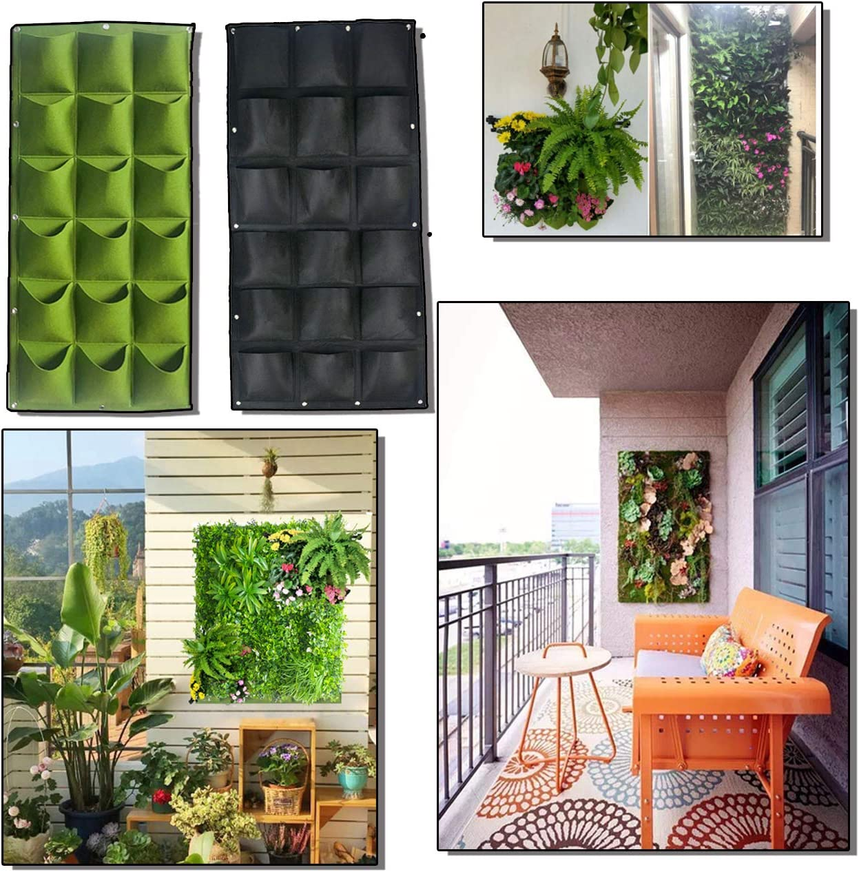 64 Pockets Vertical Wall Garden Planter Pocket Wall Mount Living Plant Growing Bag for Flower Vegetable Outdoor Wall Decor for Patios and Gardens Widely Used in Home Decor Shopping mall Office Hotel