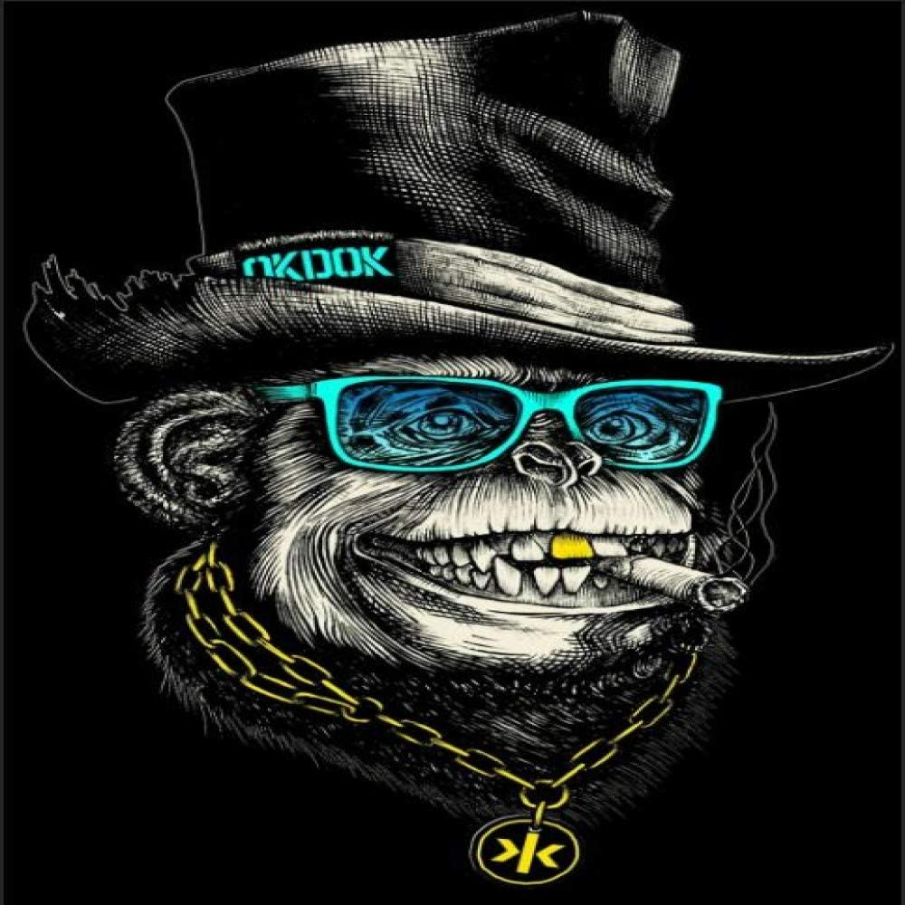 N / A Sombrero Negro y Divertido Collar de Oro Fumadores Mono del Cartel y del Arte de la impresión Pintura de Pared del Cuadro del Animal decoración del hogar sin Marco 50x75cm