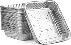 Yesland 45 Pack Disposable Aluminum Foil Square Pans, 8 x 8 Inches Meal Prep Cookware/Cooking Tins/Food Containers for Oven, Grill, Cooking, Roasting, Broiling, Baking, Take Out, Restaurant