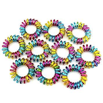 Amazon.com   Simdoc 10Pcs Rainbow Spiral Hair Ties-3.8 Cm-Telephone Wire  Cord Hair Ties Hair Coils Hair Ring Headbands Elastic Hair Bands d6b902cb0b3
