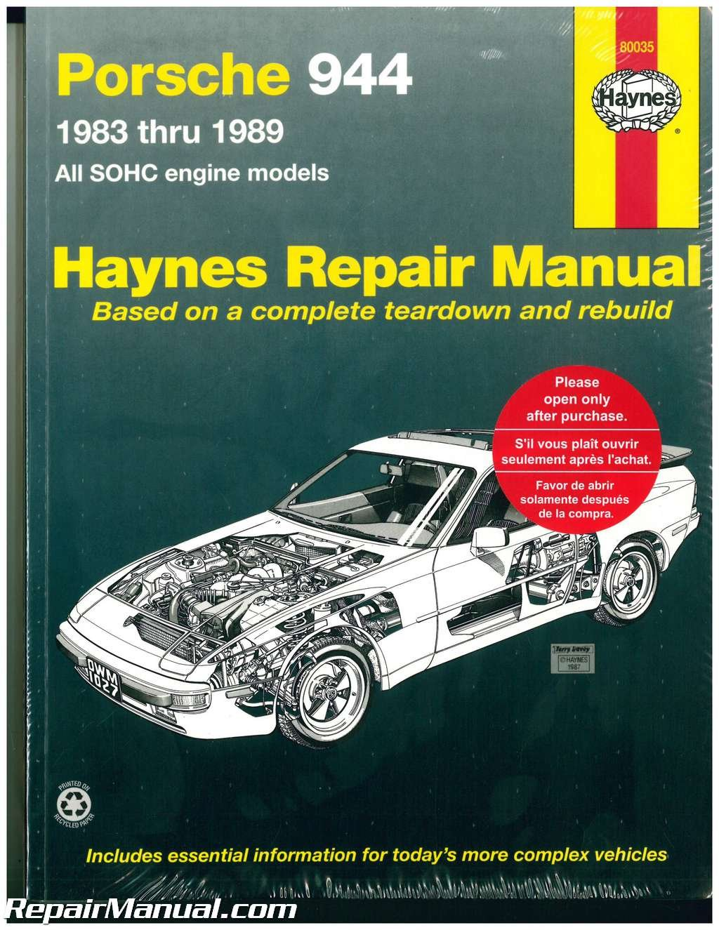 h80035 haynes porsche 944 1983 1989 auto repair manual manufacturer rh amazon com 1987 Porsche 944 Owner's Manual Porsche 944 Head Gasket