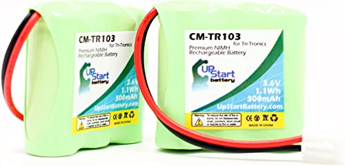 2 Pack – Replacement for Tri-Tronics 1038100-G Battery – Compatible with Tri-Tronics CM-TR103 Dog Training Collar Battery 300mAh 3.6V NI-MH