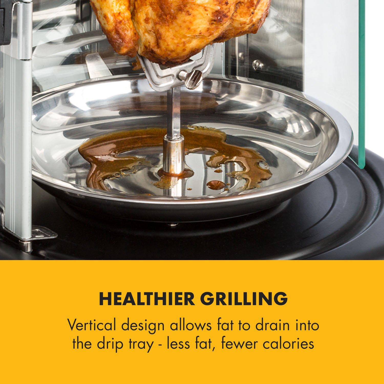 Klarstein Kebab Master Pro Vertical Rotisserie • Kabob-Grill • Kabob Skewer • Rotating Oven • Timer • Max 1500W • Up to 464°F • 22 qt • Stainless Steel • for shawarma, kebob, turkey or fish • Black by KLARSTEIN (Image #6)