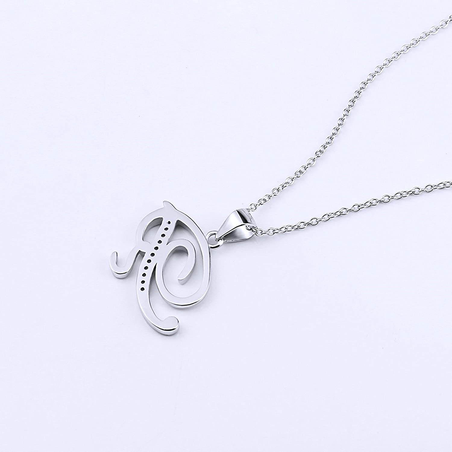 Aooaz Jewelry Fashion Charm Silver Plated Cubic Zirconia 26 Letters Alphabet Pendant Necklace