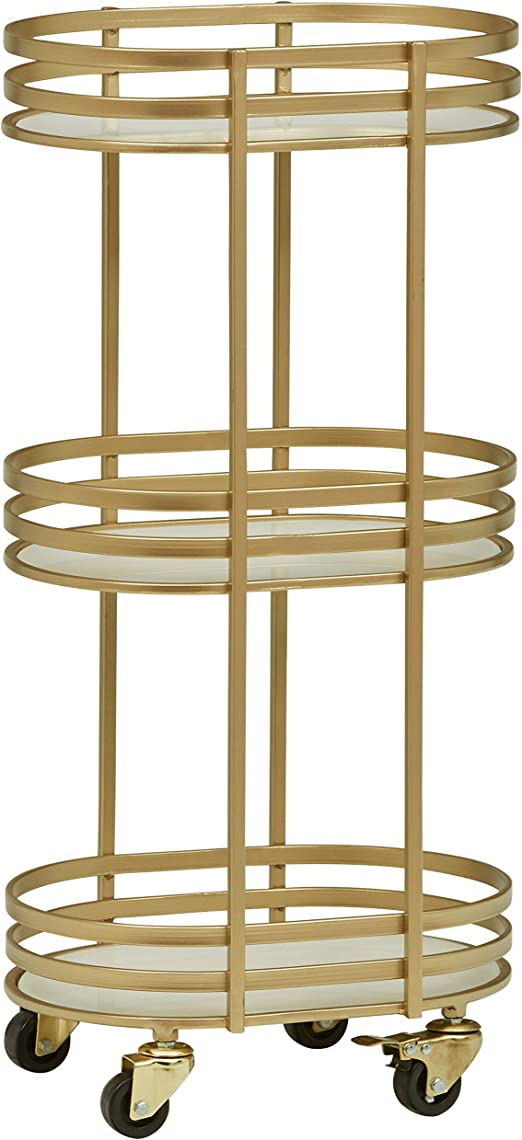 Kate and Laurel Deveaux Modern Metal and Glass Bar Cart Glam Gold Finish and Rolling Wheeled Design 17.75 x 17 x 30