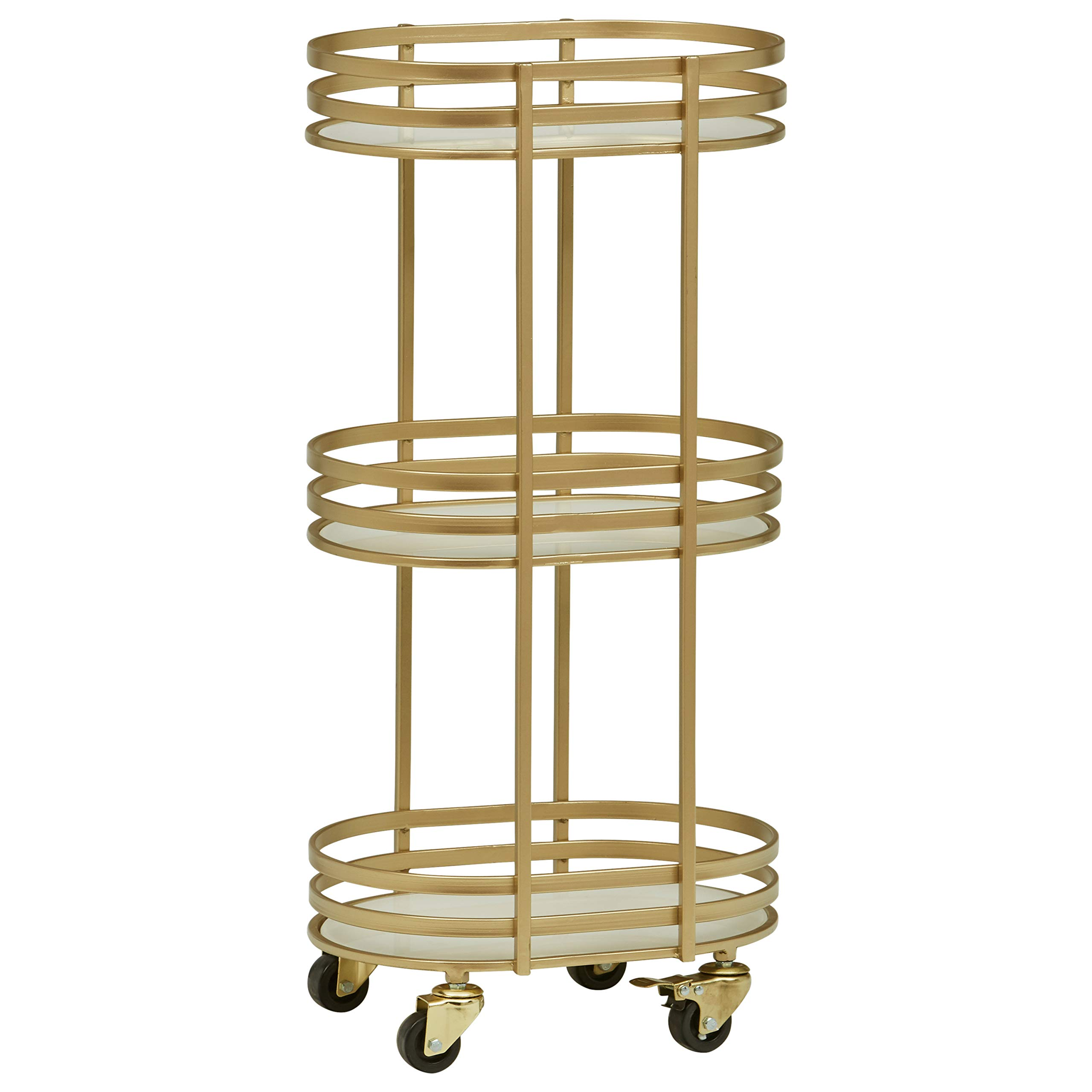 Rivet Contemporary Serving Cart 32.28''H, Gold