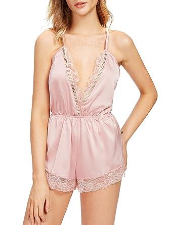 ec94e67a4d SweatyRocks Women s V Neck Nightwear Lace Romper Pajamas Sexy Sleepwear  Romper Lingerie - Pink -