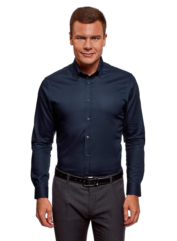 TALLA сm 39 / ES 46 / S. oodji Ultra Hombre Camisa de Algodón con Acabado en Contraste