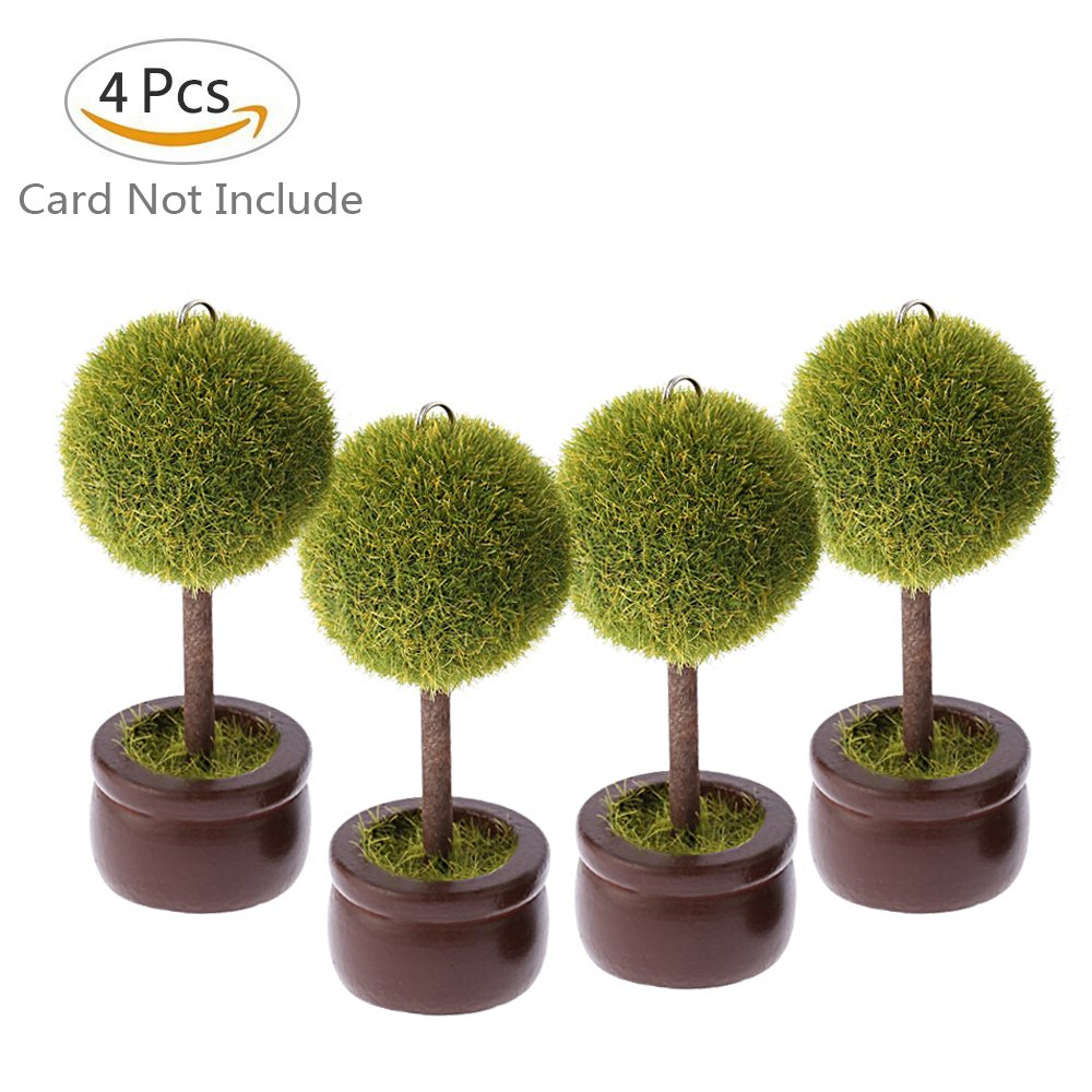 Wooden Place Card Holder - 4 Piece - Wedding & Party Decorations - Table Cards Rustic Sign Name Number Stand With Green Potted And Wood Base- Display Desk Mini Food Clips - For Photo, Picture, Menu by ieasycan