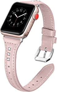 Secbolt Leather Bands Compatible Apple Watch Band 38mm 40mm Iwatch Series 6 5 4 3 2 1 SE Slim Replacement Wristband Strap Stainless Steel Buckle, Pink with Rhinestone