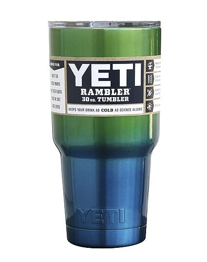ada1fbba42e Amazon.com: Yeti Rambler 30 Oz, Stainless Steel, Powder-coated, Custom  Colors (Caribbean Blue/Candy Green Apple): Kitchen & Dining