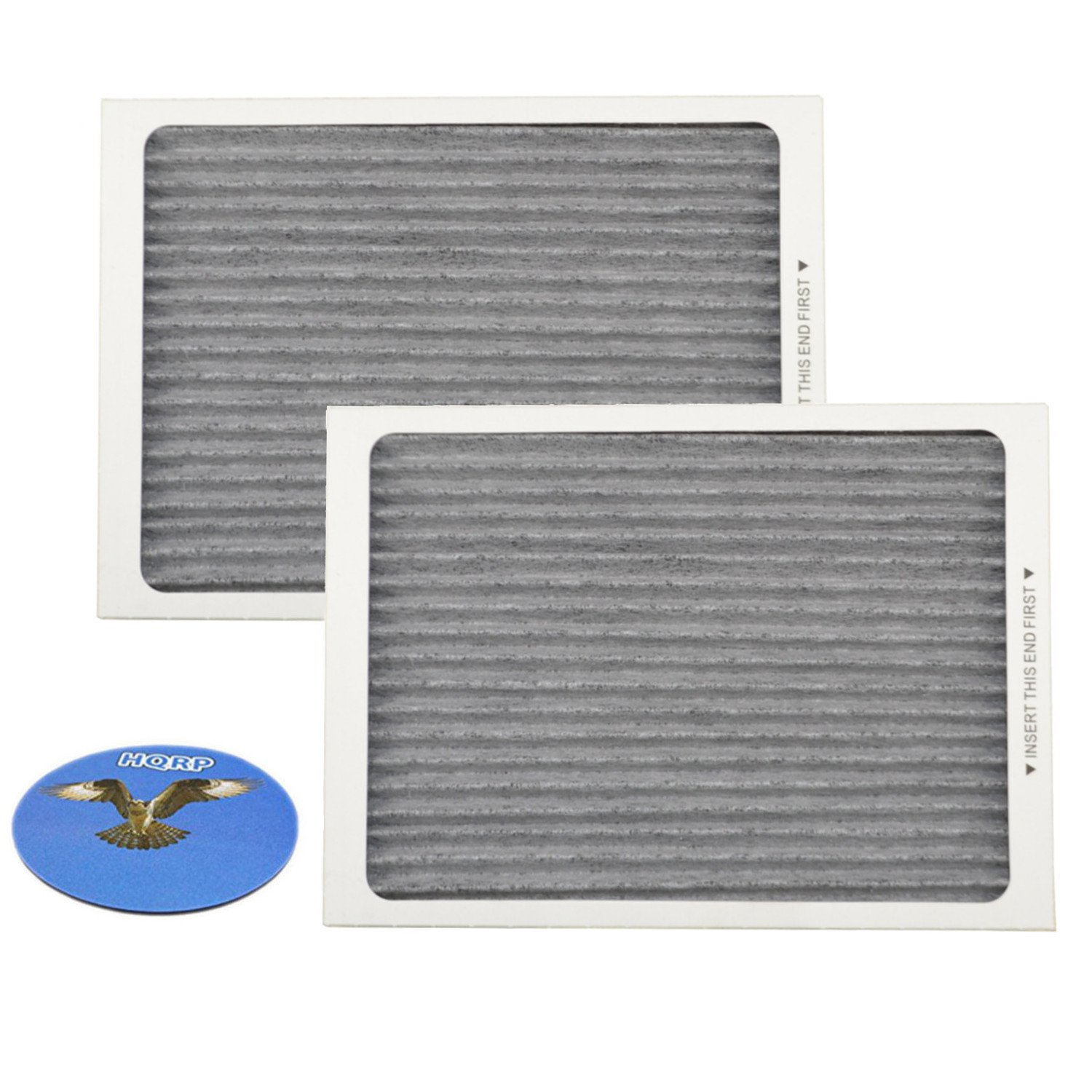 HQRP Carbon Air Filter (2-pack) for Frigidaire Gallery & Professional series Side-by-Side / French door Refrigerators, EAFCBF PAULTRA Replacement + HQRP Coaster