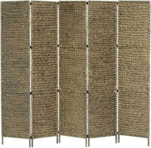 vidaXL Biombo Separador 5 Paneles Plegable Divisor Ambientes Decorativo Metal Jacinto Agua Paravientos Protección Privacidad Jardín Terraza Marrón: Amazon.es: Hogar