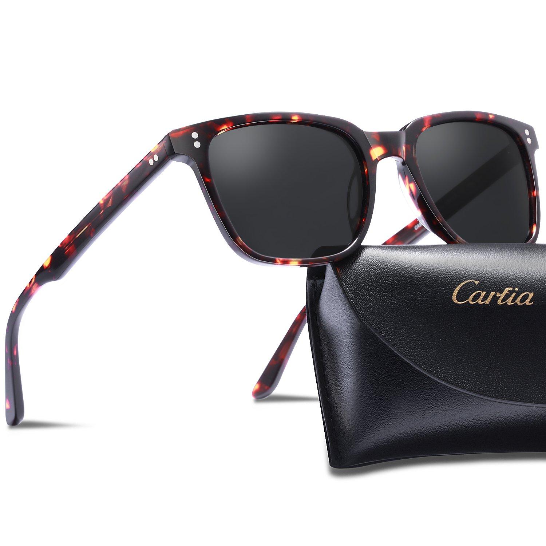 Carfia Chic Retro Polarized Sunglasses for Women Men, 100% UV400 Protection