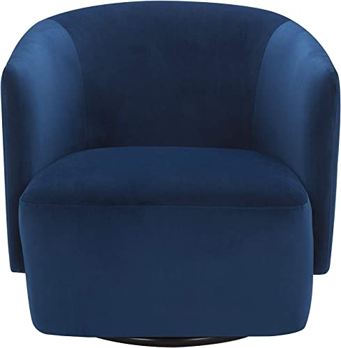 Amazon Brand – Rivet Coen Contemporary Modern Upholstered Accent Swivel Chair, 30 W, Velvet Ink