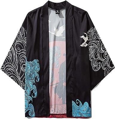 Kimono Cardigan Chaqueta Hombres Hombres Japonés Manga Corta ...