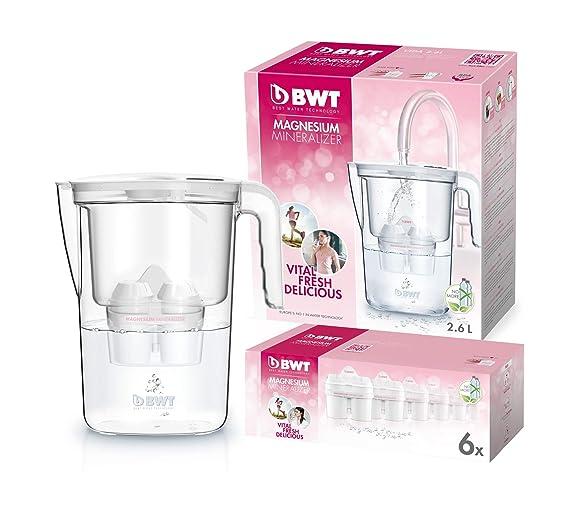 BWT Vida Manual - Jarra filtradora de agua con magnesio + Pack 6 filtros jarra de agua, 2,6 L Blanco: Amazon.es: Hogar