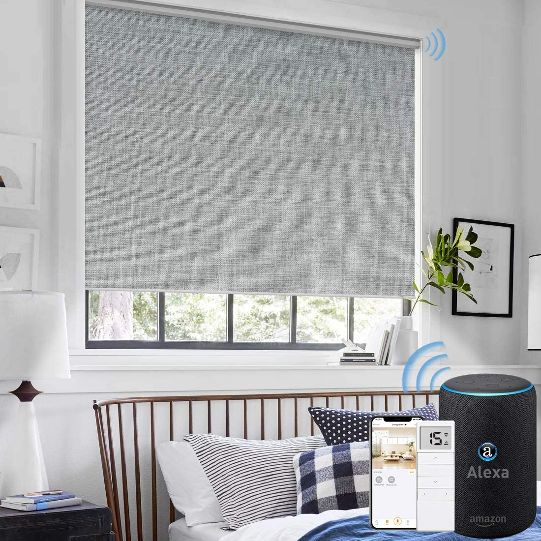Amazon Com Graywind Motorized Roller Shades 100 Blackout Window Blinds Remote Voice Control Thermal Insulated Triple Weaved Fabric With Valance For Smart Home Office Customized Size Light Grey Kitchen Dining