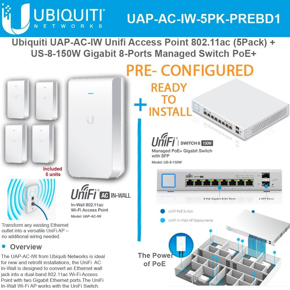Ubiquiti Uap Ac Iw Ap 80211ac Preconfig 5pk Us 8 150w Ethernet Wall Jack Wiring Poe Gigabit Ports Switch Electronics