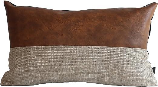 Amazon Com Kdays Halftan Lumbar Pillow Cover Cognac Leather Decorative Throw Pillow Case Farmhouse Rectangular Sofa Couch Cushion Covers Modern Minimalist Color Block Pillow Cover 12x20 Inches Home Kitchen