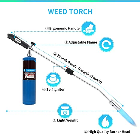 Burner Head,with Flame Control Valve and Ergonomic Anti-slip Handle YouDo Weed Torch Fuel Not Included
