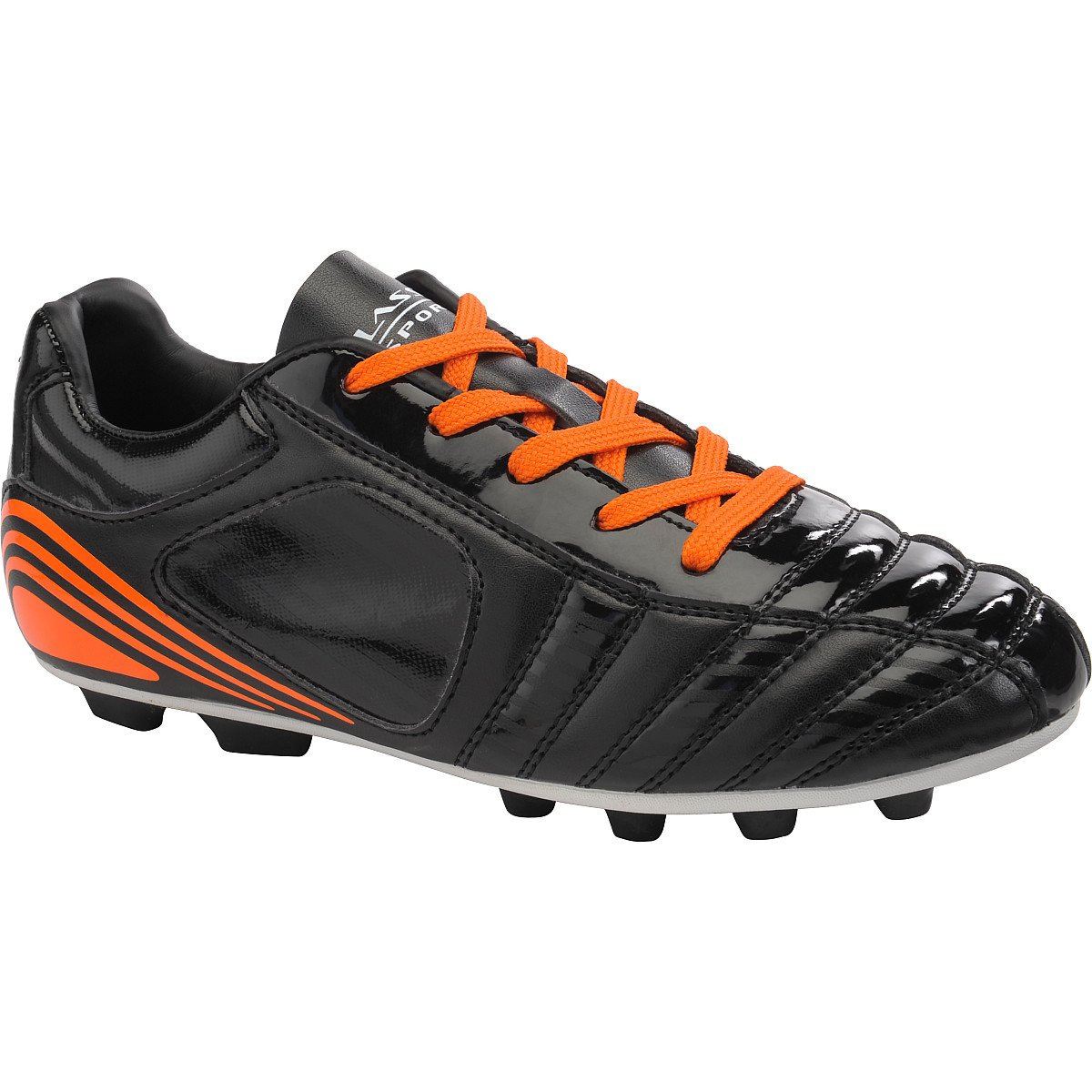 Click image to open expanded view Classic Sport Low Soccer Cleats, Black/Orange, Rubber Molded Dual Cleat Design, Padded Collar