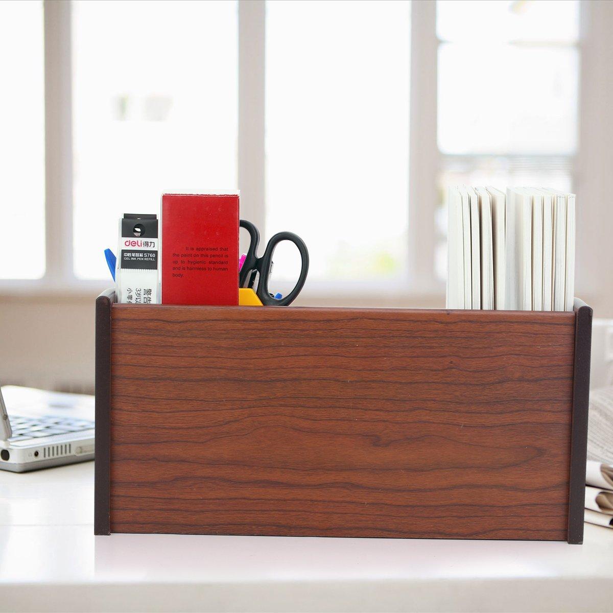 AZDENT Wooden Office Desk Organizer Mail Racks Pen Pencil Holder with 2 Drawers Shelves Desktop Counter Remote Holder by AZDENT (Image #6)